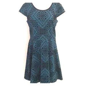 Xhilaration Dresses - Jade & velvet flocked skater dress